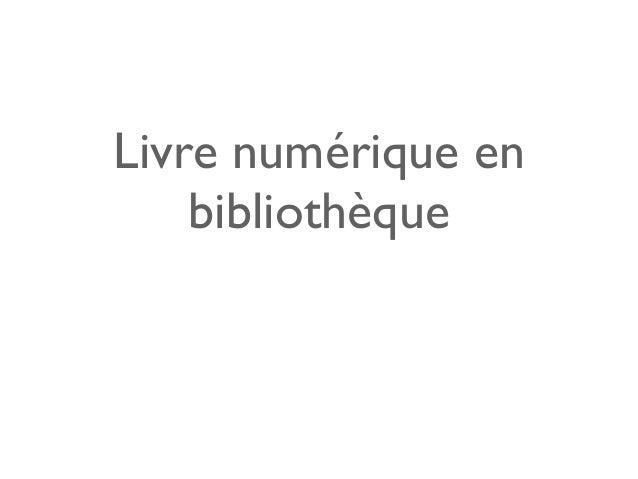 Livre numérique en bibliothèque