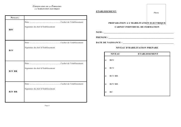 CERTIFICATION DE LA FORMATION                        A L'HABILITATION ELECTRIQUE                                          ...