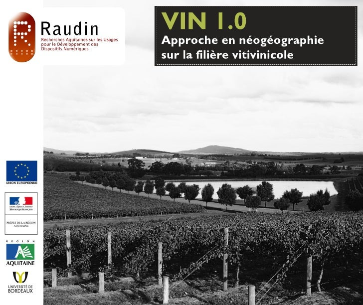 VIN 1.0Approche en néogéographiesur la filière vitivinicole                              1