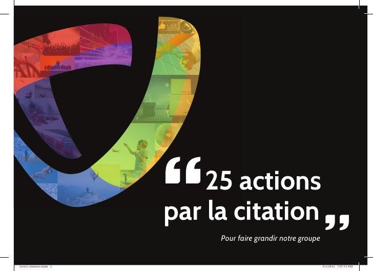 25 actions                          par la citation                               Pour faire grandir notre groupeLivret ci...