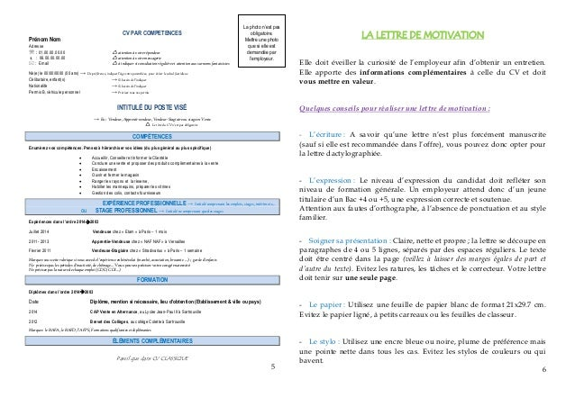 exemple cv pour admission post bac