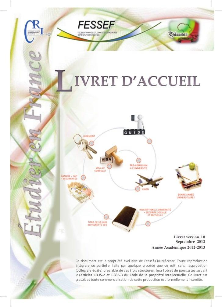 Livret version 1.0                                                              Septembre 2012                            ...
