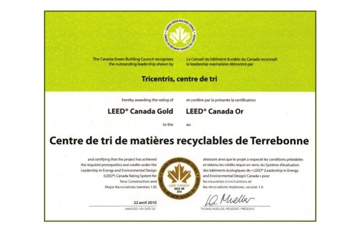 Tricentris certifié LEED Or | ORGANISMES