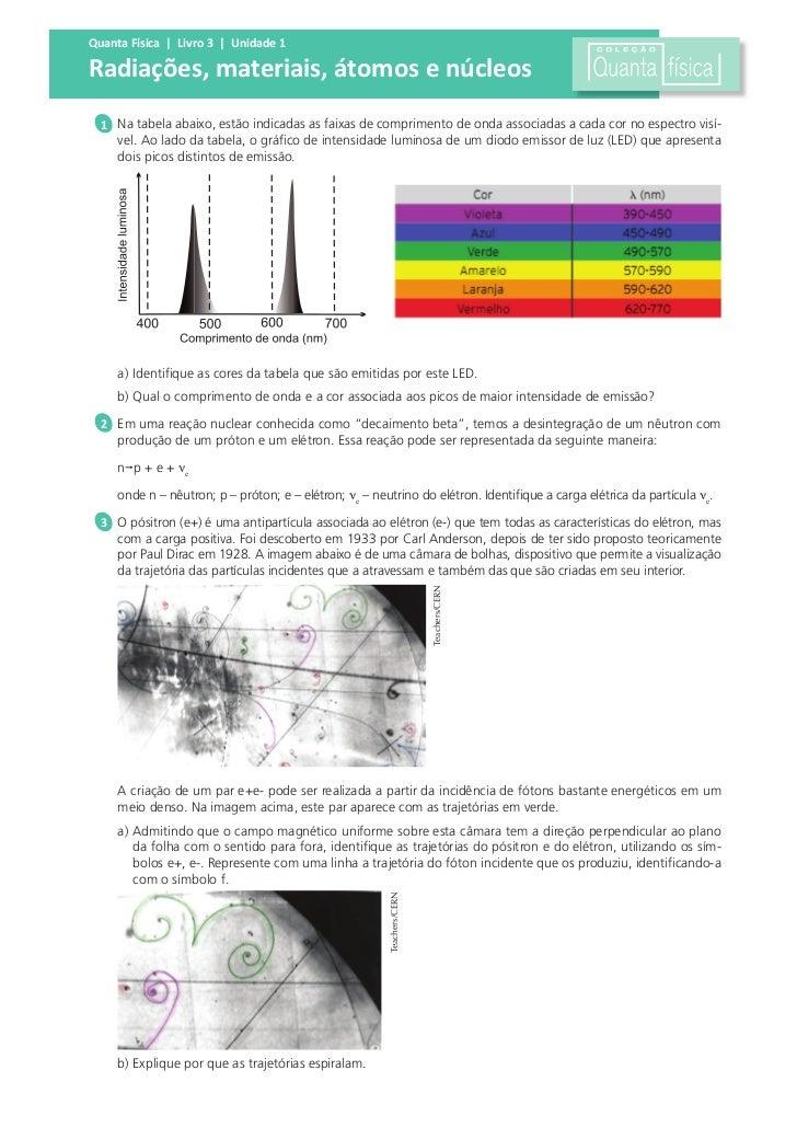 Quanta Física | Livro 3 | Unidade 1Radiações, materiais, átomos e núcleos  1 Na tabela abaixo, estão indicadas as faixas d...
