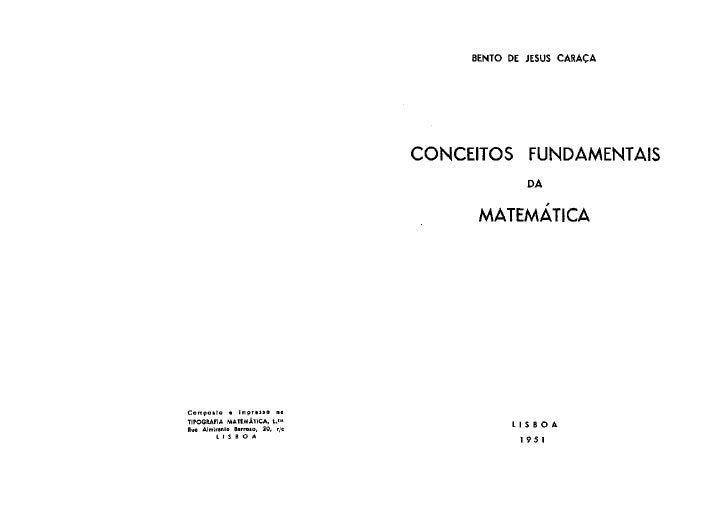 Livro Conceitos Fundamentais Da MatemáTica Bento CaraçA