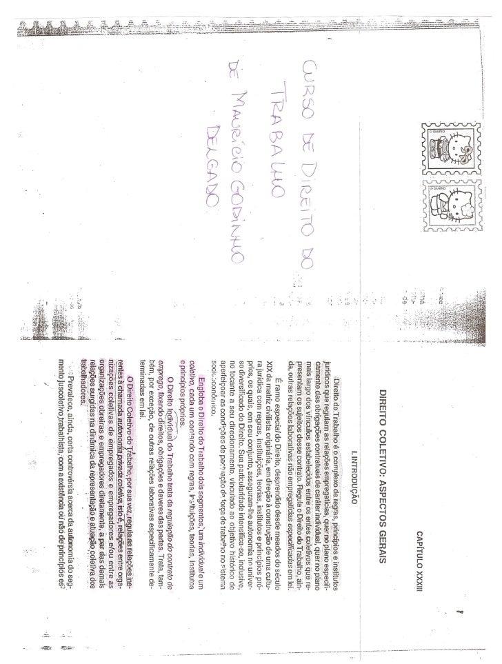 """Livro """"Curso de Direito do Trabalho"""" de Maurício Godinho Delgado - Capítulos XXXIII, XXXIV e XXXV - PARTE 1"""