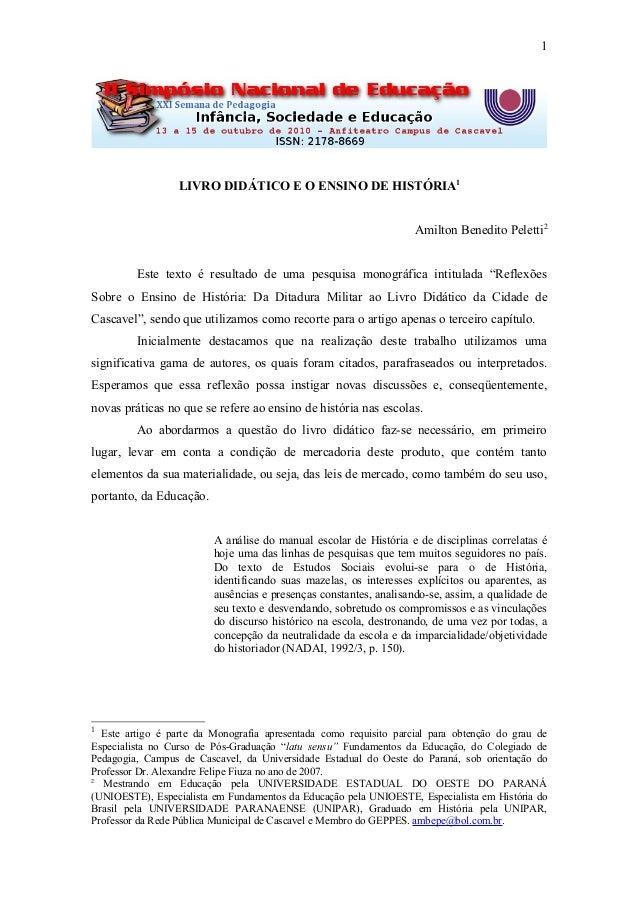1                  LIVRO DIDÁTICO E O ENSINO DE HISTÓRIA1                                                                 ...
