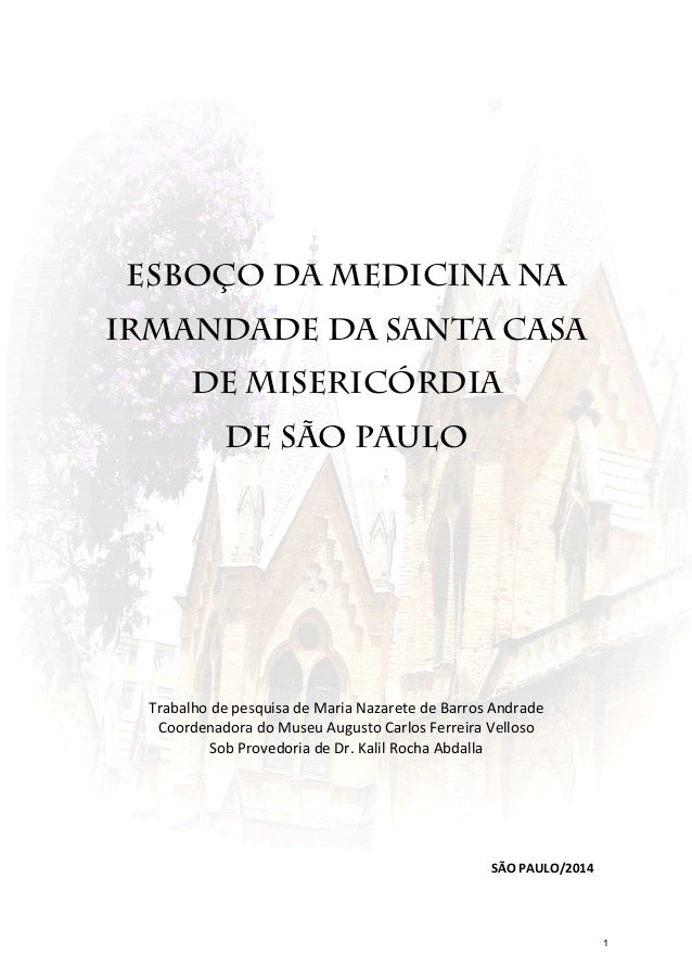 ESBOÇO DA MEDICINA NA IRMANDADE DA SANTA CASA DE MISERICÓRDIA DE SÃO PAULO Trabalho de pesquisa de Maria Nazarete de Barro...
