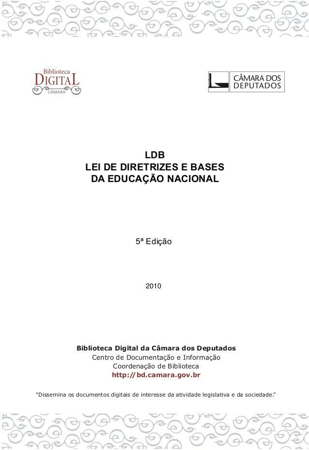 LDB LEI DE DIRETRIZES E BASES DA EDUCAÇÃO NACIONAL 5ª Edição 2010