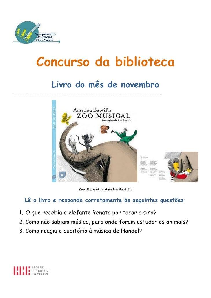 Concurso da biblioteca                Livro do mês de novembro____________________________________________________________...