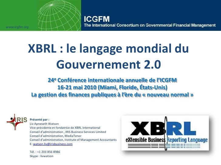 Liv watson icgfm xbrl a language of the government world francais