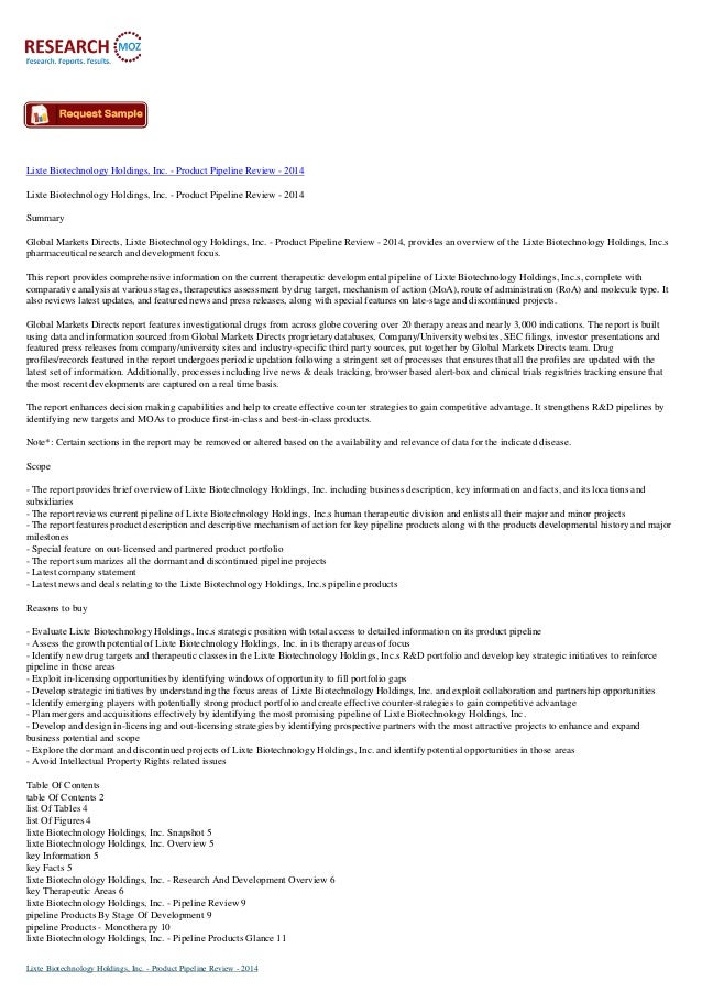 Lixte Biotechnology Holdings, Inc. - Product Pipeline Review - 2014 Lixte Biotechnology Holdings, Inc. - Product Pipeline ...