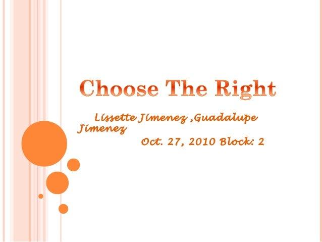 Lissette Jimenez ,Guadalupe Jimenez Oct. 27, 2010 Block: 2