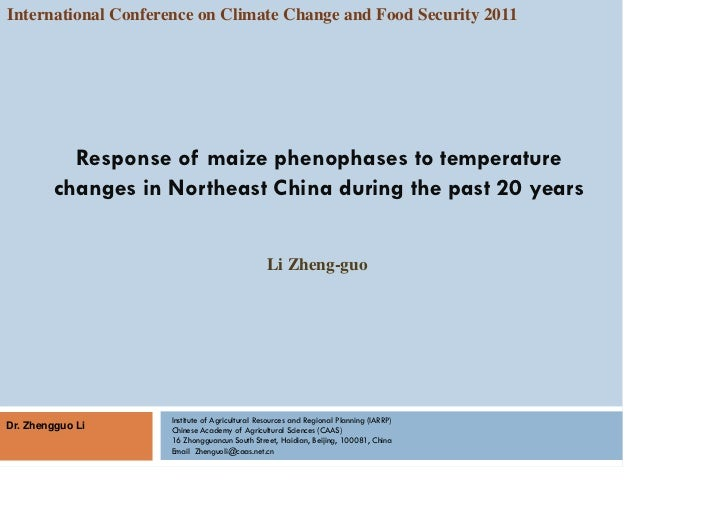 Li Zhengguo — Response of maize phenophases to temperature changes in northeast china during the past 20 years