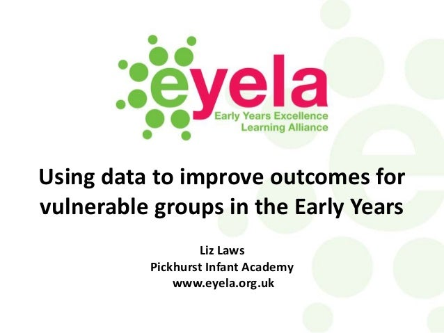 Using data to improve outcomes for vulnerable groups in the Early Years Liz Laws Pickhurst Infant Academy www.eyela.org.uk