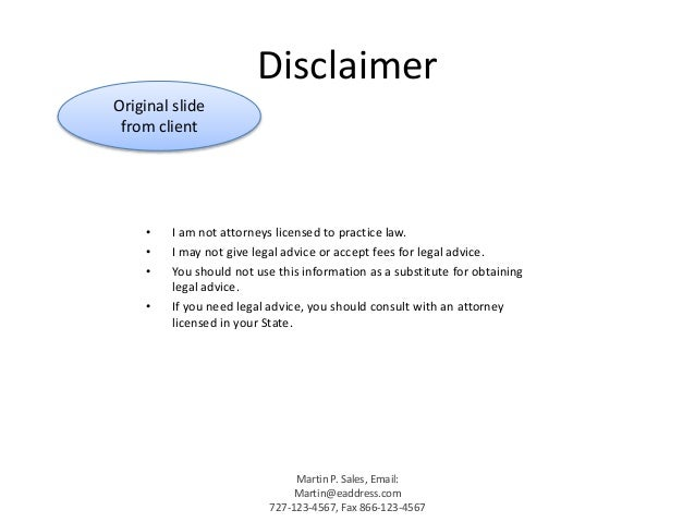 Liz m lopez sample presentations 2014 for Legal advice disclaimer template