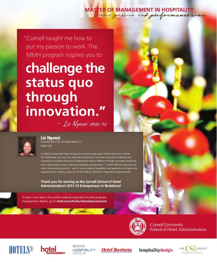 Cornell University School of Hotel Administration Master of Management in Hospitality Ad Featuring Liz Ngonzi, MMH '98