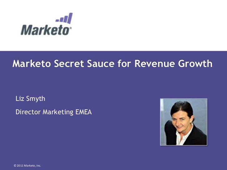 Marketo Secret Sauce for Revenue Growth Liz Smyth Director Marketing EMEA© 2011 Marketo, Inc.