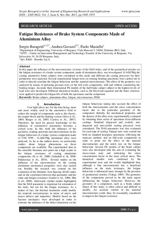 Sergio Baragetti et al Int. Journal of Engineering Research and Applications ISSN : 2248-9622, Vol. 3, Issue 6, Nov-Dec 20...