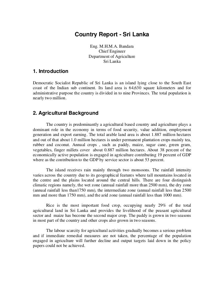 Country Report - Sri Lanka                                Eng. M.H.M.A. Bandara                                    Chief E...