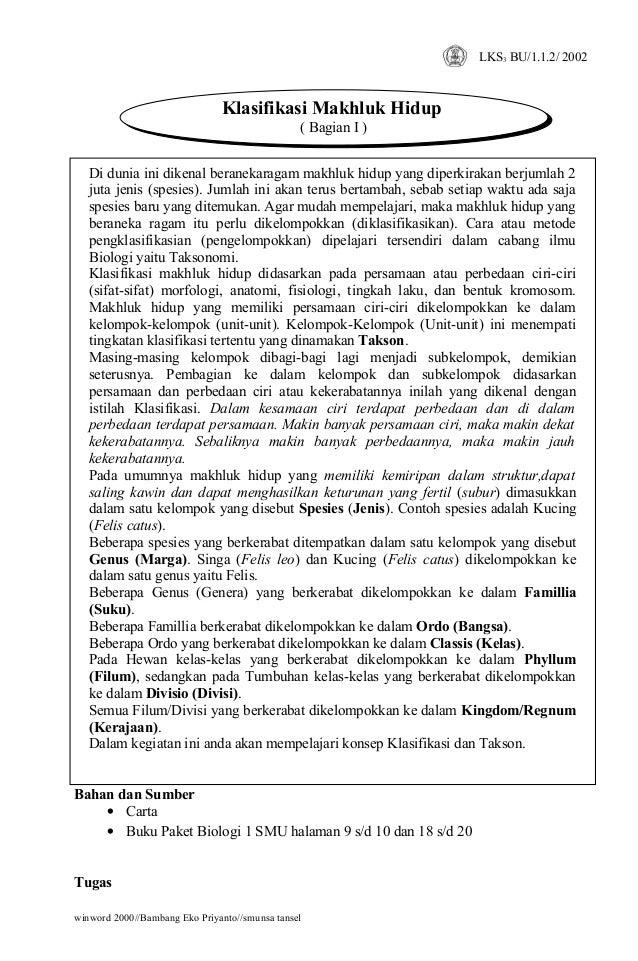 LKS3 BU/1.1.2/ 2002                               Klasifikasi Makhluk Hidup                                               ...