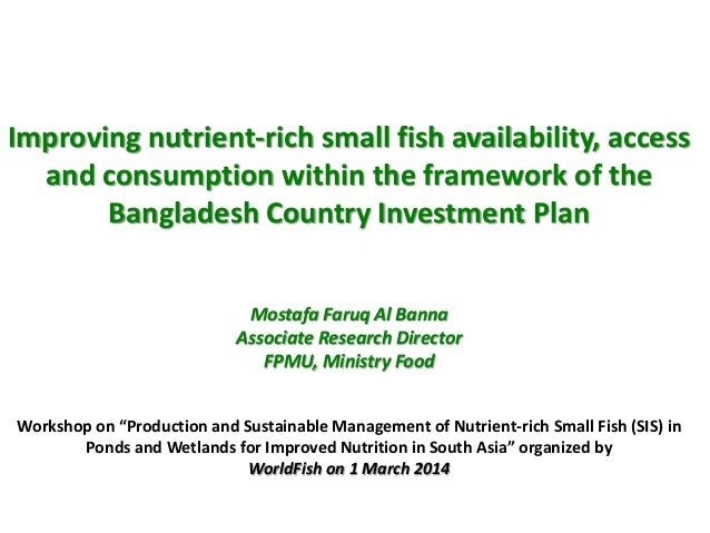 Improving Nutrient-rich Small Fish Availability, Access and Consumption within the Framework of the Bangladesh Country Investment Plan. By Mostafa Faruq Al Banna, Associate Research Director, FPMU, Ministry of Food.