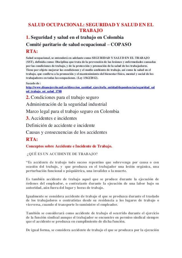 SALUD OCUPACIONAL: SEGURIDAD Y SALUD EN EL  TRABAJO  1. Seguridad y salud en el trabajo en Colombia  Comité paritario de s...