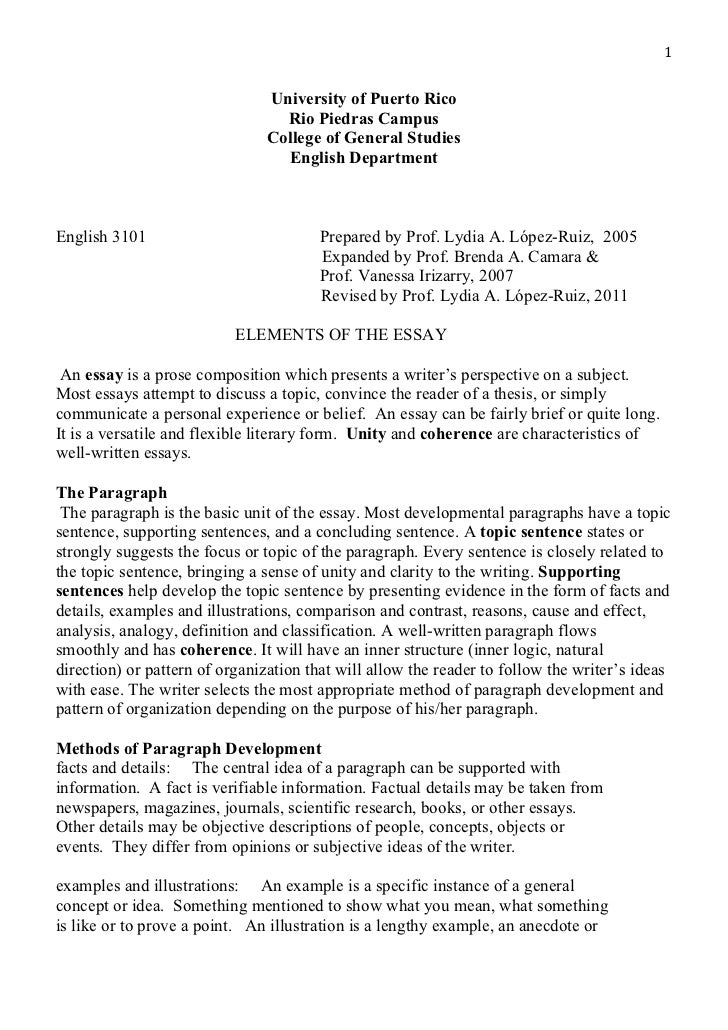 Different elements of an essay