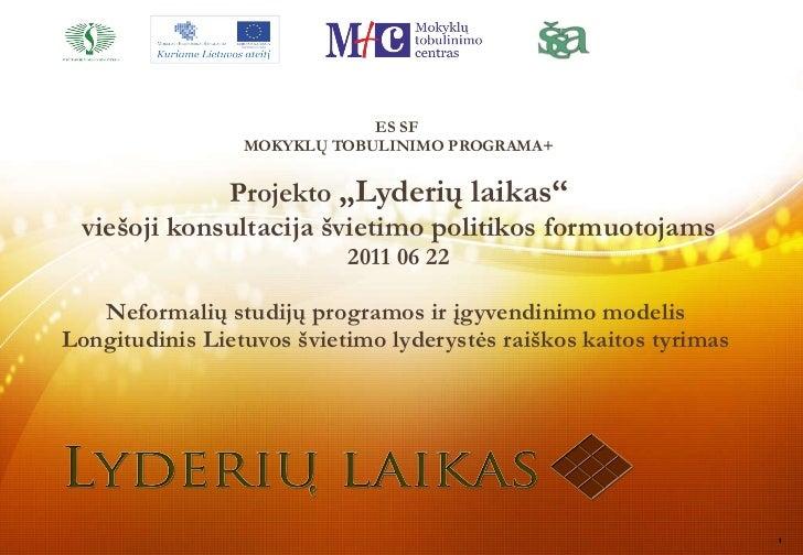 """ES SF  MOKYKL Ų TOBULINIMO PROGRAMA+ Projekto  """"Lyderių laikas"""" v i ešoji konsultacija švietimo politikos formuotojams 201..."""