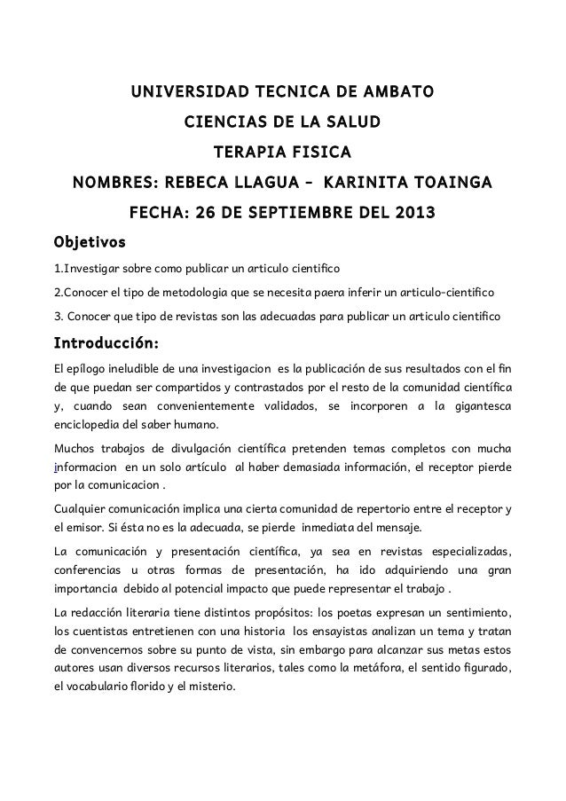 UNIVERSIDAD TECNICA DE AMBATO CIENCIAS DE LA SALUD TERAPIA FISICA NOMBRES: REBECA LLAGUA - KARINITA TOAINGA FECHA: 26 DE S...