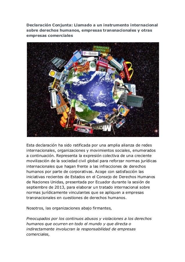Declaración Conjunta: Llamado a un instrumento internacional sobre derechos humanos, empresas transnacionales y otras empr...