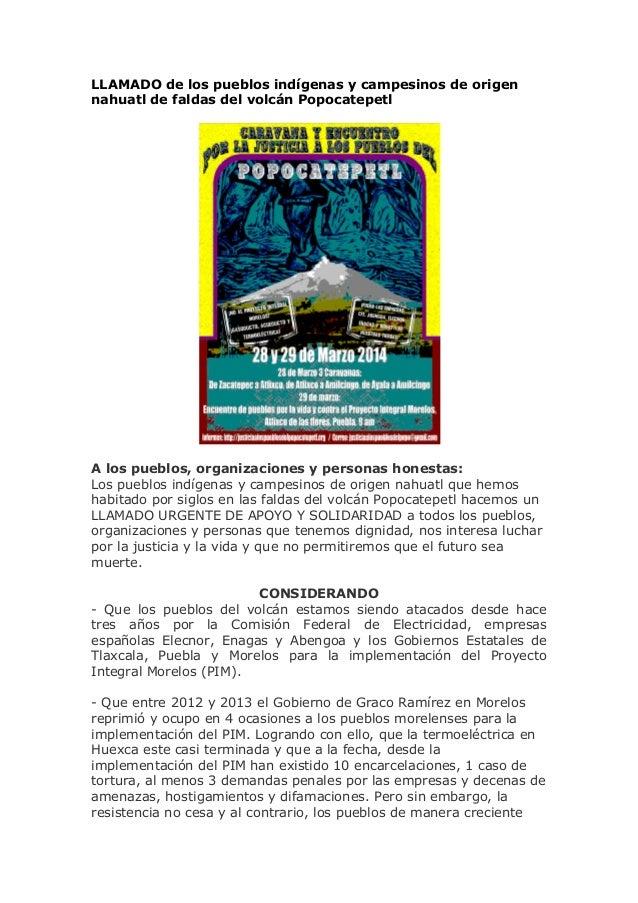 LLAMADO de los pueblos indígenas y campesinos nahuatl de faldas del volcán Popocatepetl