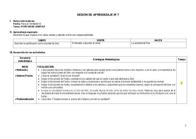 1 SESIÓN DE APRENDIZAJE Nº 7 I. Datos informativos: Fecha: Para el 18/08/2012 Tema: VIVIR VIDAS SANTAS II. Aprendizaje esp...