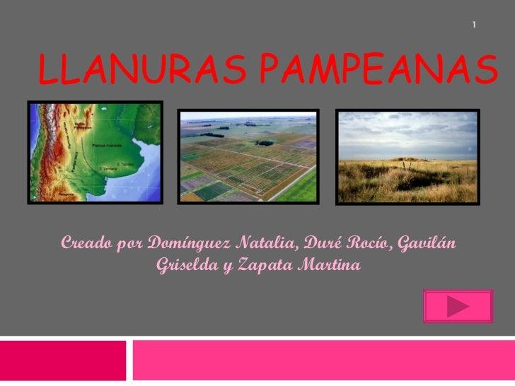 LLANURAS PAMPEANAS Creado por Domínguez Natalia, Duré Rocío, Gavilán Griselda y Zapata Martina