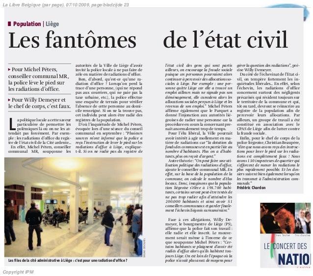LE CONCERT DES NATION Yves Teicher Trio d'anches l Population | Liège Les fantômes de l'état civil Ǡ Pour Michel Péters, c...