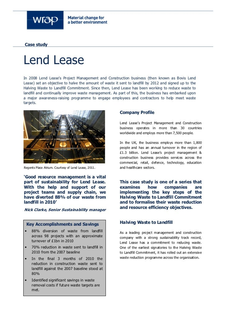 Lend Lease 1/2 waste to landfill
