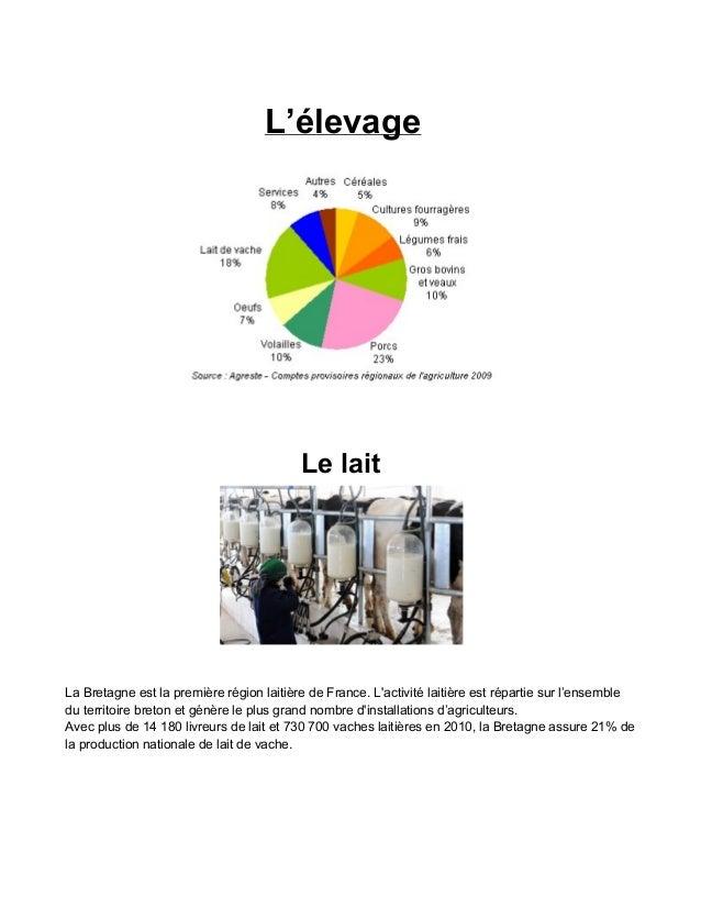 L'élevage  Lelait  LaBretagneestlapremièrerégionlaitièredeFrance.L'activitélaitièreestrépartiesurl'ensemble...