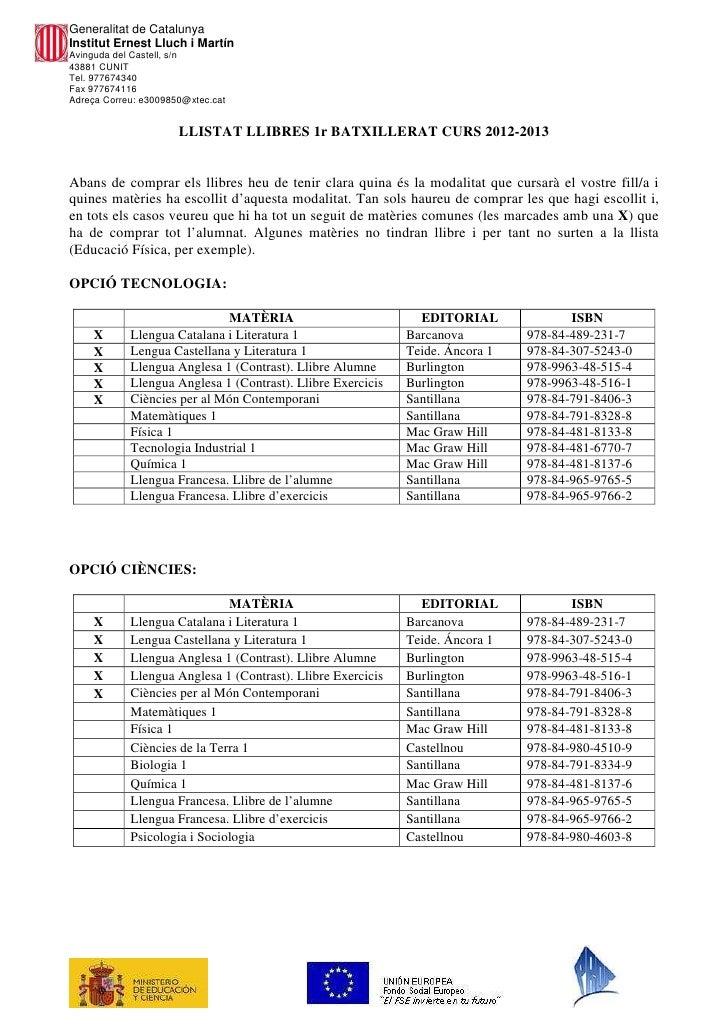 Llibres 1r batxillerat 2012 2013