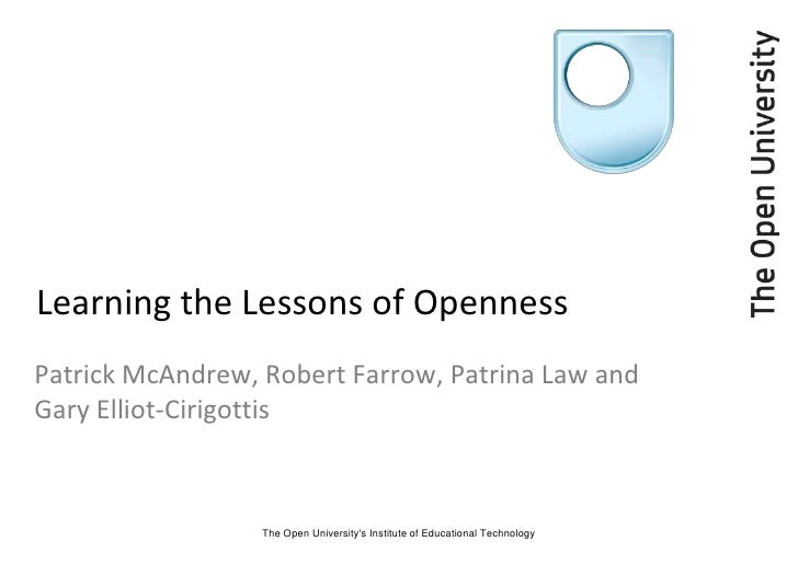 Learning the Lessons of Openness