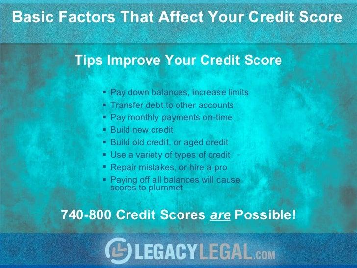 Basic Factors That Affect Your Credit Score <ul><li>Pay down balances, increase limits </li></ul><ul><li>Transfer debt to ...