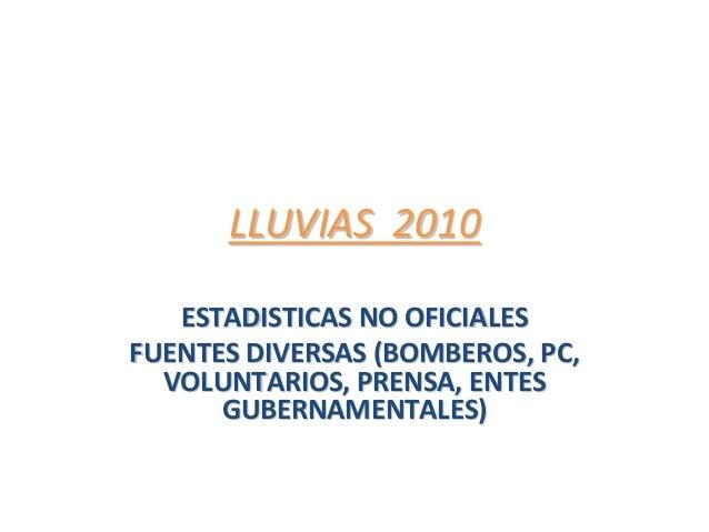 LLUVIAS2010LLUVIAS2010 ESTADISTICASNOOFICIALESESTADISTICASNOOFICIALES FUENTESDIVERSAS(BOMBEROS,PC,FUENTESDIVE...