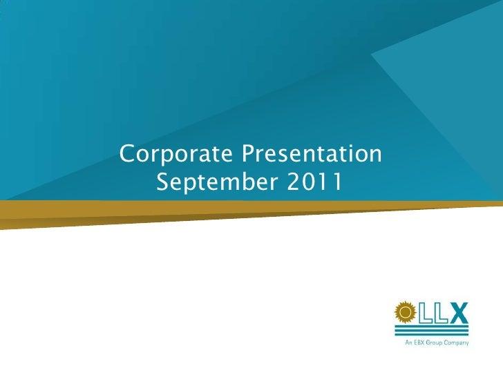 Corporate PresentationSeptember 2011<br />