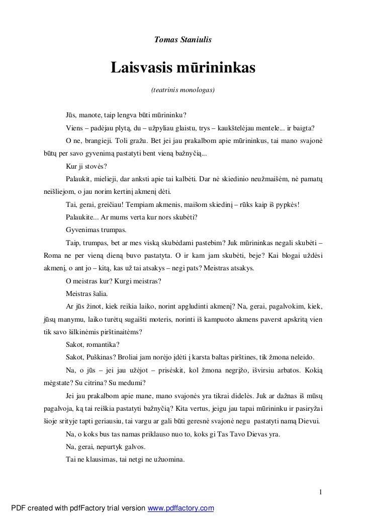 Tomas Staniulis                                  Laisvasis mūrininkas                                              (teatri...