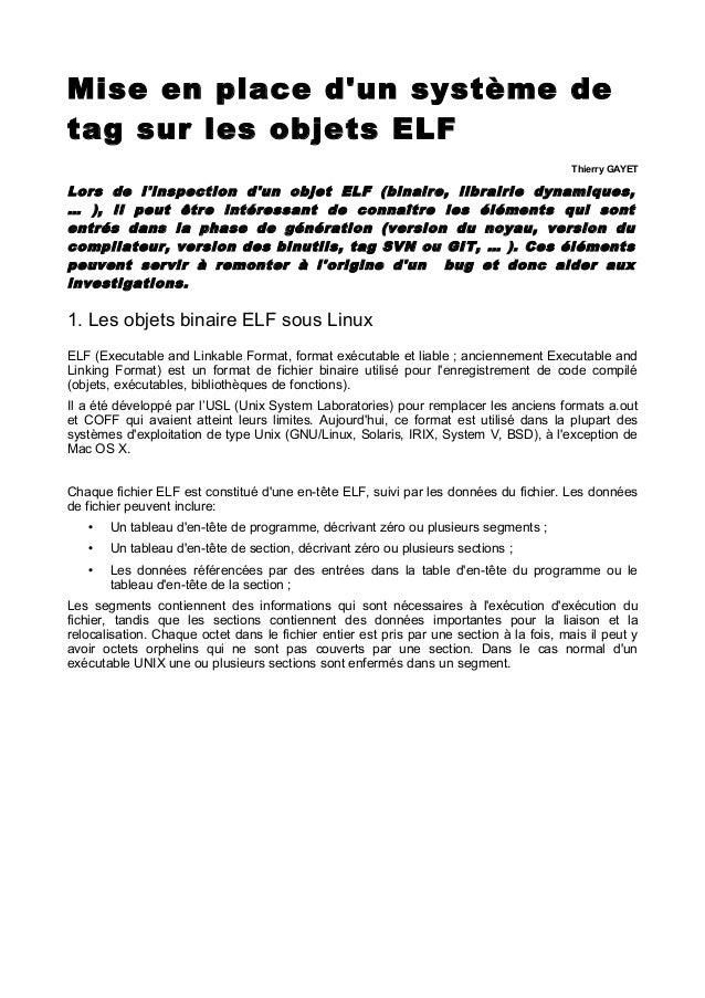Mise en place d'un système de tag sur les objets ELF Thierry GAYET Lors de l'inspection d'un objet ELF (binaire, librairie...