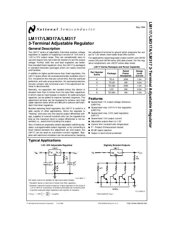 LM317 Adjustable Regulator Datasheet