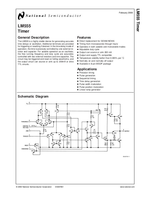 LM555 Timer General Description The LM555 is a highly stable device for generating accurate time delays or oscillation. Ad...