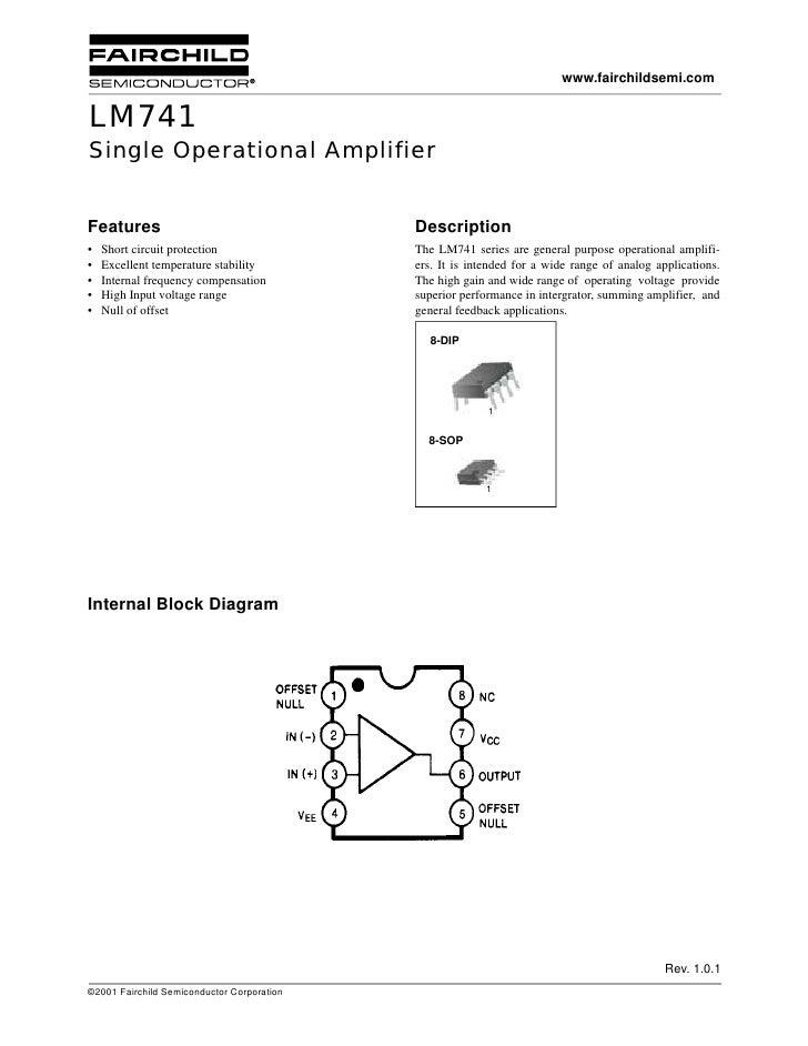 www.fairchildsemi.com   LM741 Single Operational Amplifier   Features                                    Description •   S...