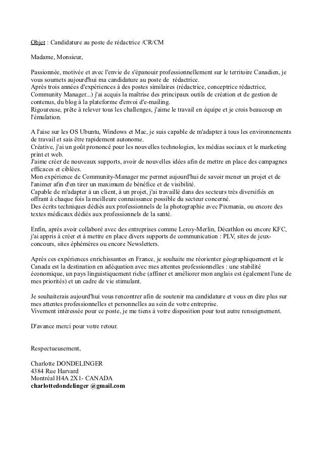 cover letter example  lettre de motivation gratuite kfc