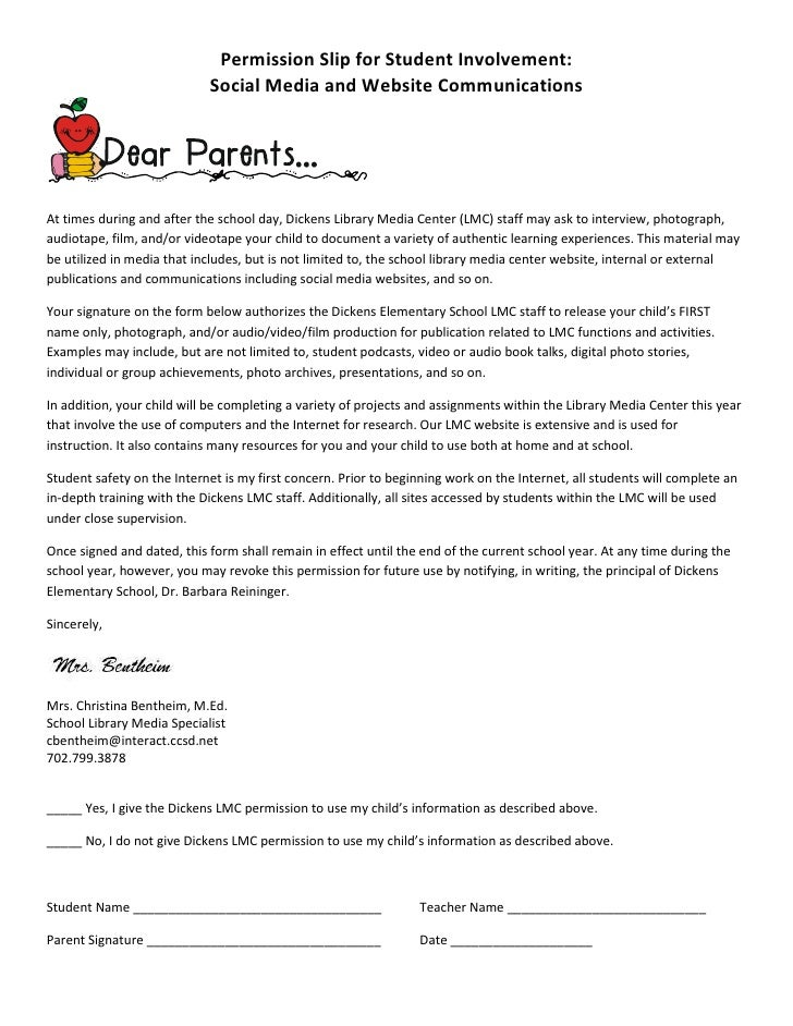Permission Slip for Student Involvement:                             Social Media and Website Communications     At times ...