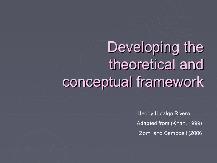 Developing the      theoretical andconceptual framework           Heddy Hidalgo Rivero           Adapted from (Khan, 1999)...